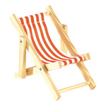 Deck chair striped, wood, cotton 10x20cm Color: white/red