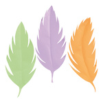Feathers 3pcs./set, paper 95x40cm Color: multicoloured