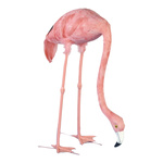 Flamingo head down, plastic with feathers 72cm Color: pink