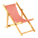 Deck chair striped, wood, cotton 18x38cm Color: white/red