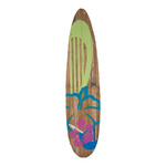 Surfboard wood, with stand 170x40cm Color: green/brown