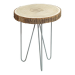 Table, wood slice 4cm thick, with three-legged metal base...