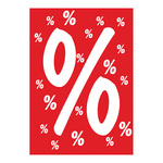 Poster % symbol paper A1 Color: red/white