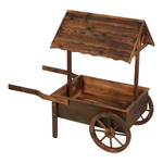 Wheelbarrow with roof, wood 91x93cm Color: brown