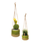 Hanging pots ceramic/rope 13x15 cm Color: green/natural