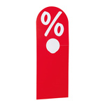 Hanger Percentage signs PVC 23x8,5 cm Color: red/white