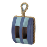 Pulley wood 18x13x12 cm Color: blue