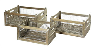Yours Crate Grid Natural 3er Set L35/45W22/32H18/20 -