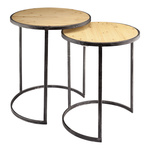 Wooden tables round, set of 2 pieces 50x50x60cm,...