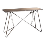 Metal table foldable, with wooden plate 120x40x76cm...