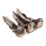 Sparrows with clip with feathers, natural, set of 3...