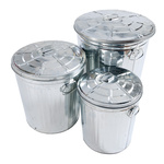 Zinc buckets set of 3 pieces, nested, with handles and...