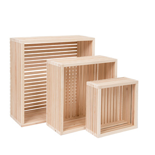Wooden presenter set of 3, nested, with bottom 45x45x18cm, 35x35x15cm, 25x25x10cm Color: natural coloured