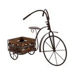 Retro tricycle with 1 plant basket 66cm Color: black/brown
