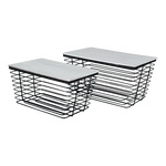 Metal baskets set of 2, rectangular, with wooden lid...