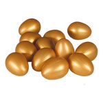 Eggs 12 in bag 6,5cm, Ø4,5cm Color: gold