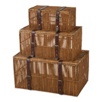 Wooden suitcases »Vintage« set of 3, with straps, nested...