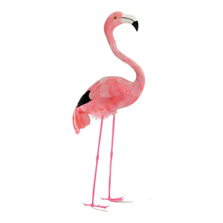 Flamingo head up, plastic with feathers 55cm Color: pink