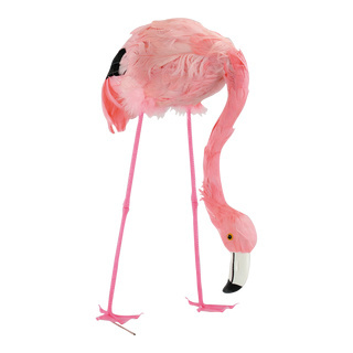 Flamingo head down, plastic with feathers 38cm Color: pink