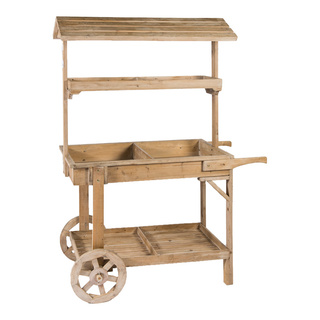 Wooden shelf with 3 layers, rollable, with roof 155x63x115cm Color: natural coloured