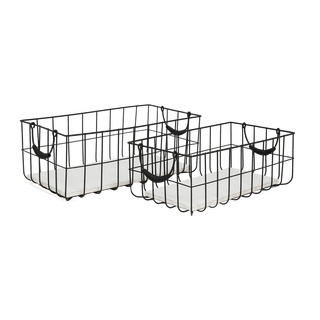 Metal baskets set of 2, rectangular, with wooden lid 35x20x13,5cm + 41x22x16cm Color: black/grey