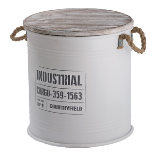 Metal barrels set of 3, with wooden lid and rope 37xØ35cm, 33xØ30cm, 26,5xØ25cm Color: white/grey