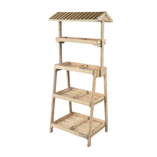 Wooden shelf with 4 layers, with roof 165x72x52cm Color: natural coloured