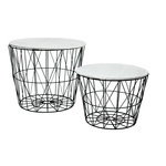 Metal baskets set of 2, round, with wooden lid...