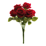 Rose bunch with 7 rose heads 40cm Color: red/green