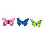 Butterflies 3-fold, with metal wire, in blister pack 30cm...