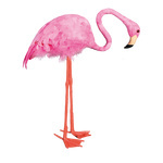 Flamingo head down, with feathers 37x12,5x47cm Color: pink