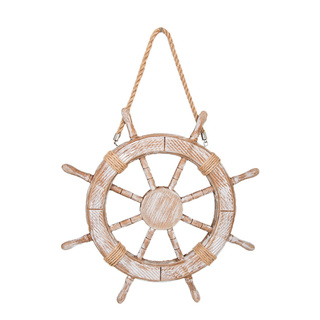 Steering wheel with hanger one-sided, wood with rope Ø42cm Color: natural coloured