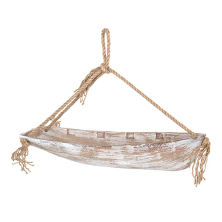 Boat with rope hanger made of wood 42x10cm Color: natural coloured