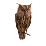 Owl sitting, in synthetic material with real feathers...
