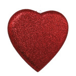 Heart with glitter, styrofoam 30cm Color: red