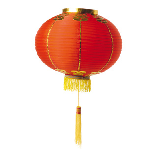 Lantern with tassel, artificial silk Ø 35cm Color: red/gold