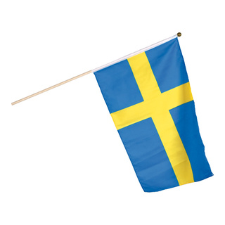 Flag on wooden pole artificial silk 30x45cm Color: Sweden