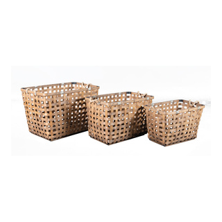 Bamboo basket set of 3, nested 57x37x38cm, 51x29x33cm, 45x27x28cm Color: natural