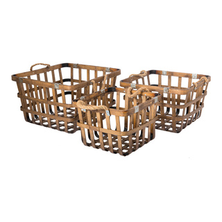 Bamboo basket set of 3, nested 41x39x26cm, 35x33x22cm, 30x28x21cm Color: natural