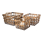 Bamboo basket set of 3, nested 41x39x26cm, 35x33x22cm,...