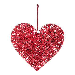 Wicker heart with hanger 60x60cm Color: red