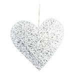 Wicker heart with hanger 80x80cm Color: white