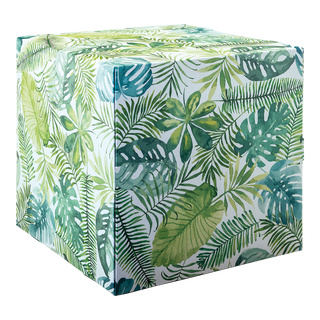 Motif cube »jungle 2« with stabilization inside (cardboard), high printing- & material quality, 450g/m², foldable cardboard 32x32x32cm Color: green/white