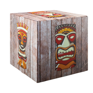 Motif cube »tiki« with stabilization inside (cardboard), high printing- & material quality, 450g/m², foldable cardboard 32x32x32cm Color: brown/multicoloured