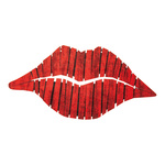 Lips with eyelets to hang, made of wood 39x20cm Color: red
