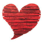 Heart with eyelets to hang, made of wood 34x21cm Color: red