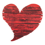 Heart with eyelets to hang, made of wood 65x61cm Color: red