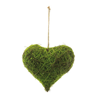 Natural wicker heart with artificial moss H: 25cm, W: 25cm Color: green