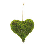 Natural wicker heart with artificial moss H: 30cm, W:...