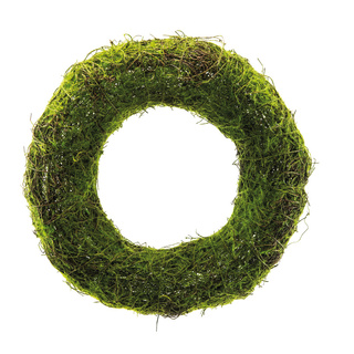 Natural wicker wreath with artificial moss Ø: 35cm Color: green